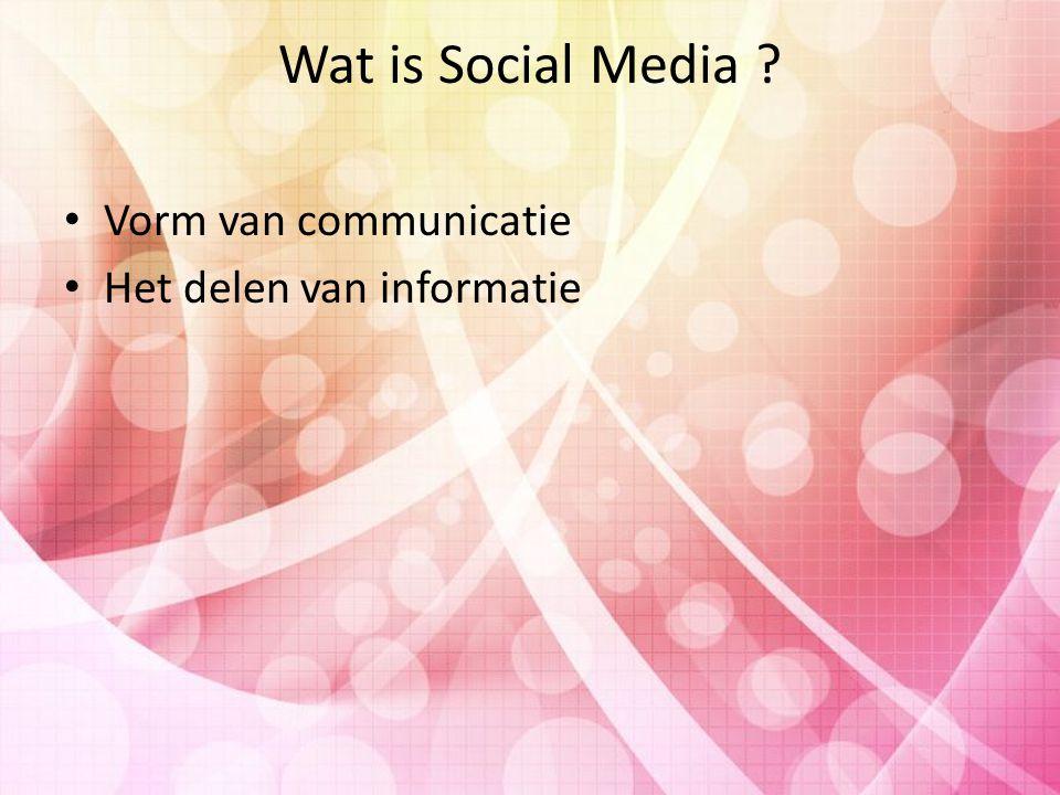 Wat is Social Media Vorm van communicatie Het delen van informatie