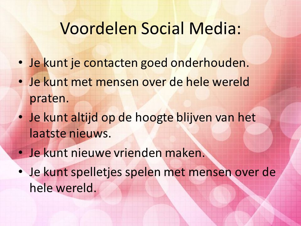 Voordelen Social Media: