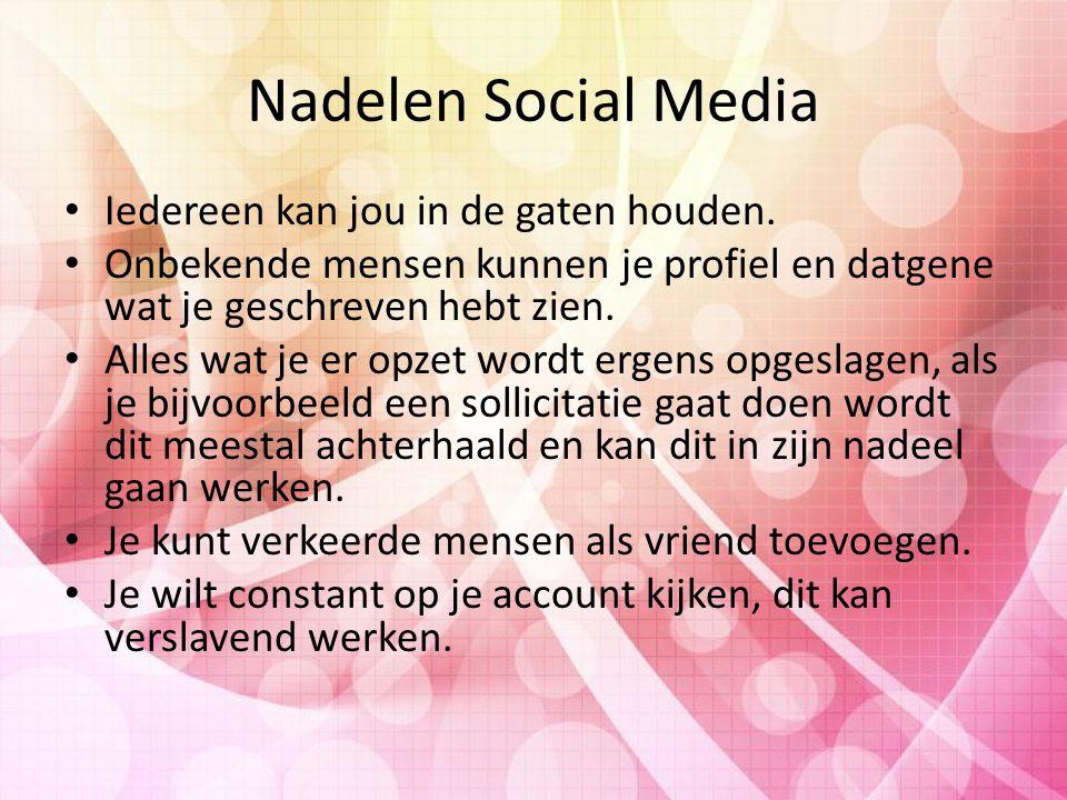 Nadelen Social Media Iedereen kan jou in de gaten houden.