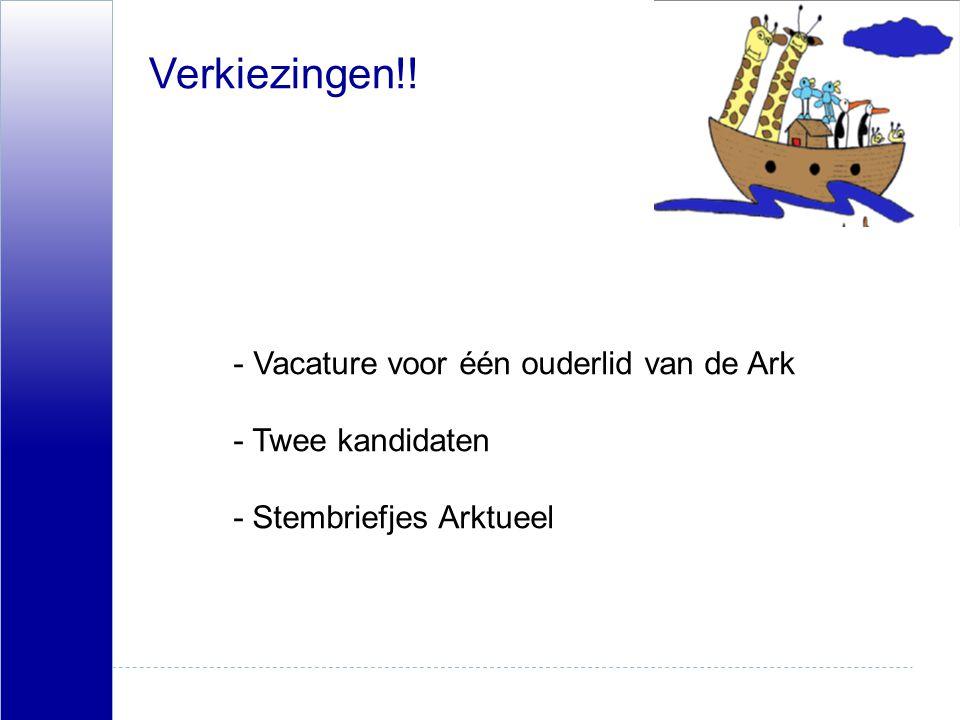 Verkiezingen!! Vacature voor één ouderlid van de Ark - Twee kandidaten - Stembriefjes Arktueel