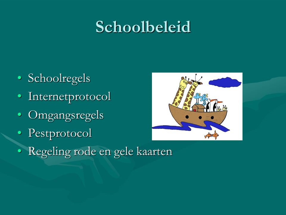 Schoolbeleid Schoolregels Internetprotocol Omgangsregels Pestprotocol