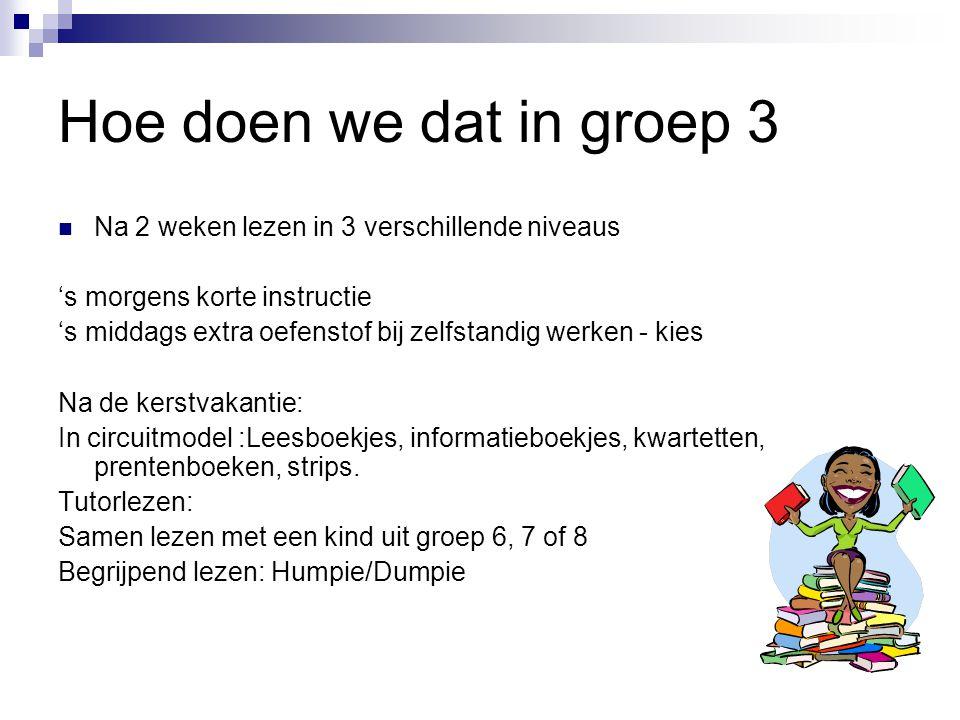 Hoe doen we dat in groep 3 Na 2 weken lezen in 3 verschillende niveaus