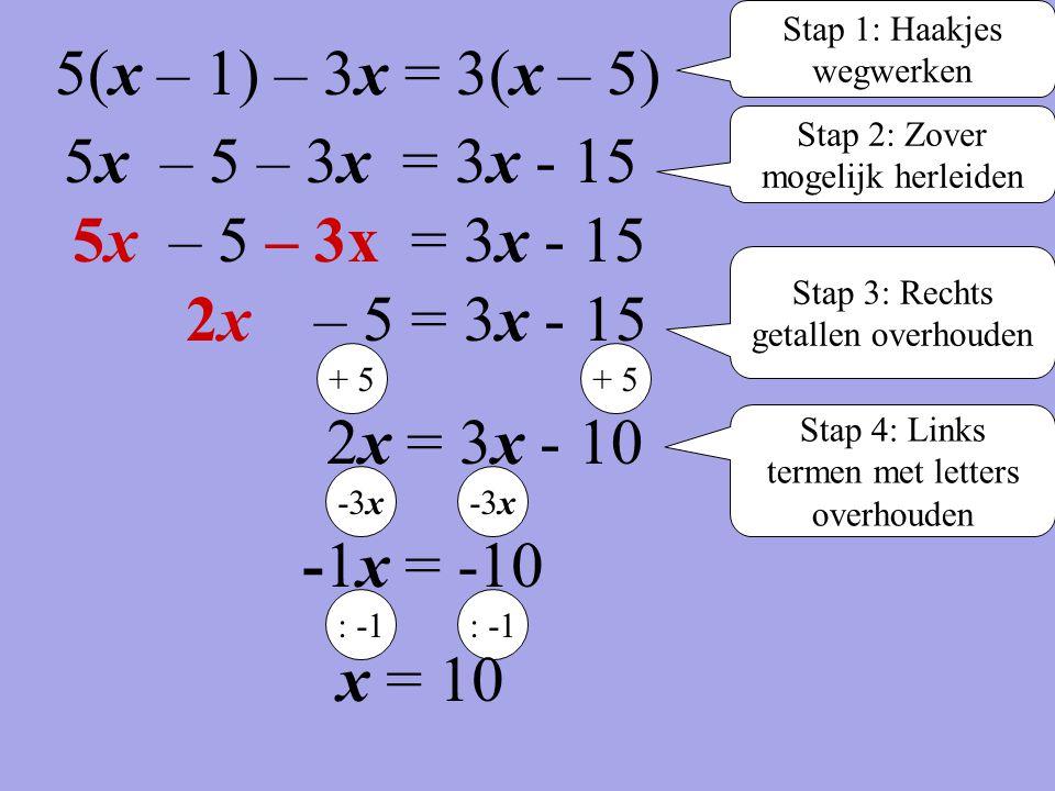 5(x – 1) – 3x = 3(x – 5) 5x – 5 – 3x = 3x - 15 5x – 5 – 3x = 3x - 15