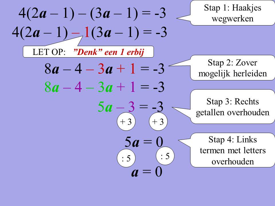 4(2a – 1) – (3a – 1) = -3 4(2a – 1) – 1(3a – 1) = -3