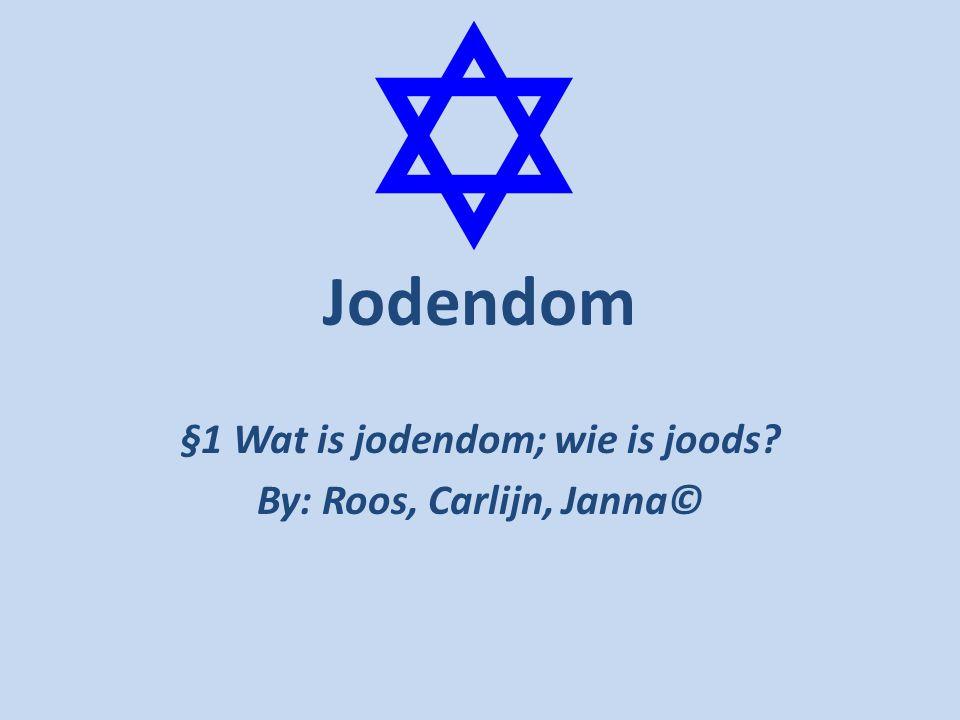 §1 Wat is jodendom; wie is joods By: Roos, Carlijn, Janna©