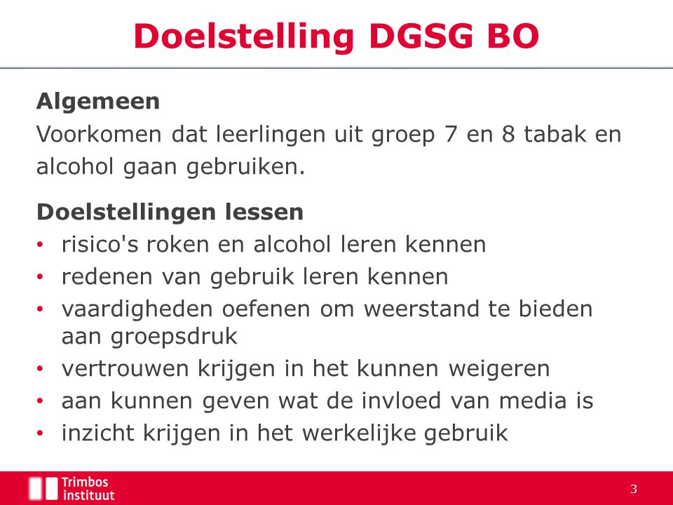 Doelstelling DGSG BO Algemeen