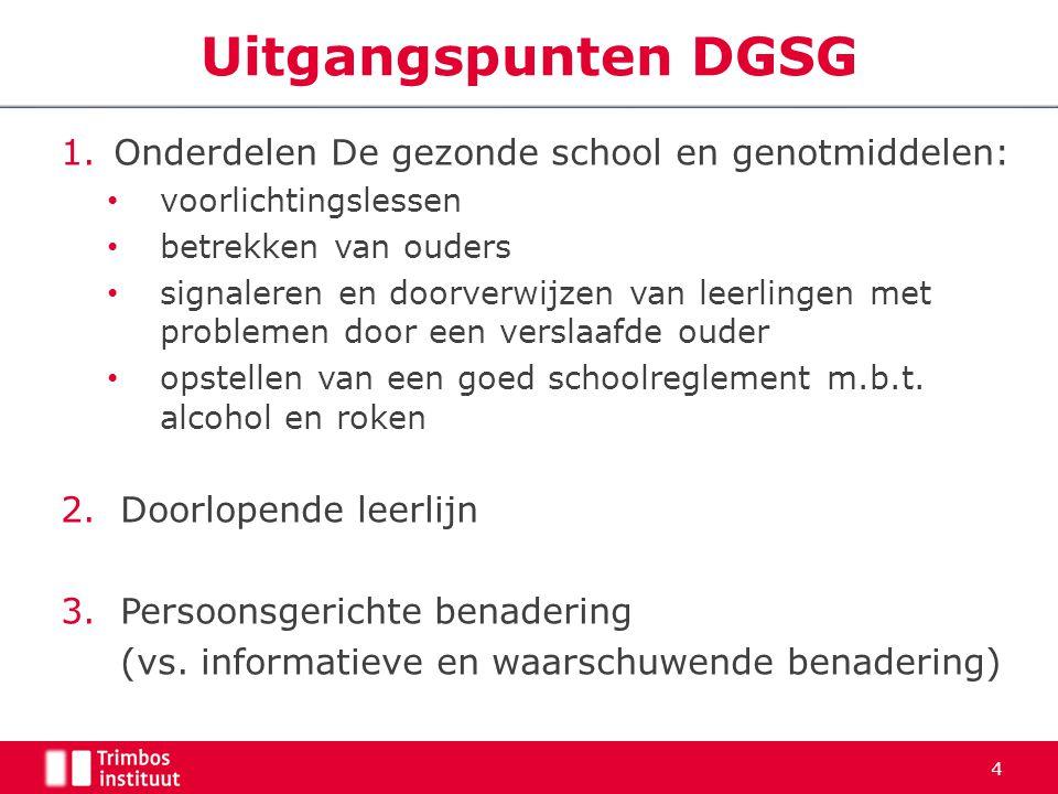 Uitgangspunten DGSG Onderdelen De gezonde school en genotmiddelen: