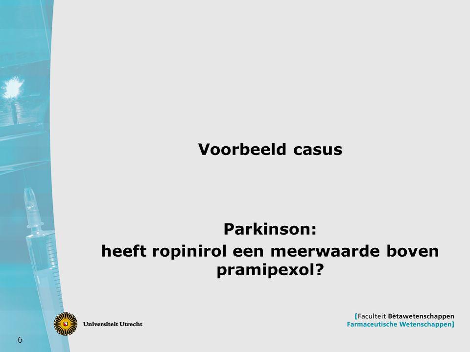 Parkinson: heeft ropinirol een meerwaarde boven pramipexol