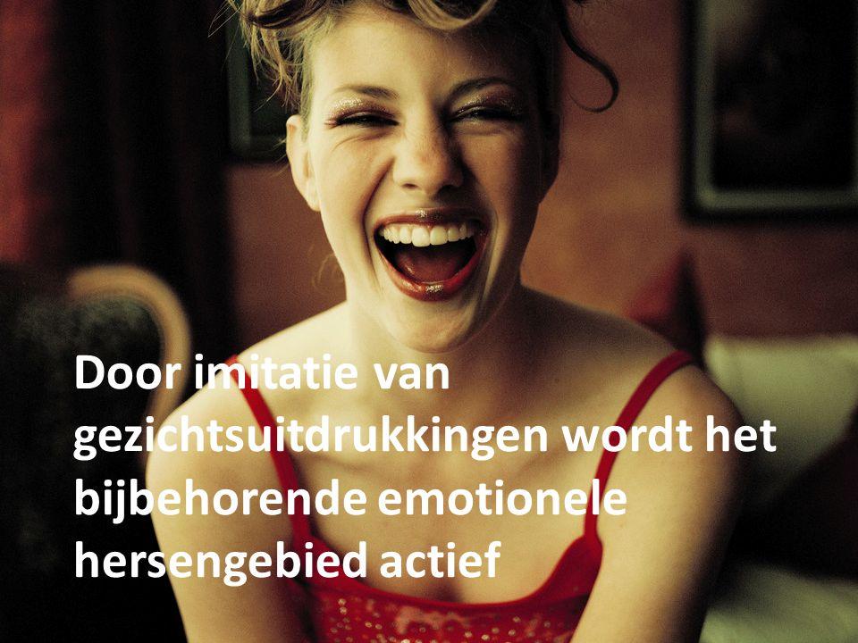 Door imitatie van gezichtsuitdrukkingen wordt het bijbehorende emotionele hersengebied actief