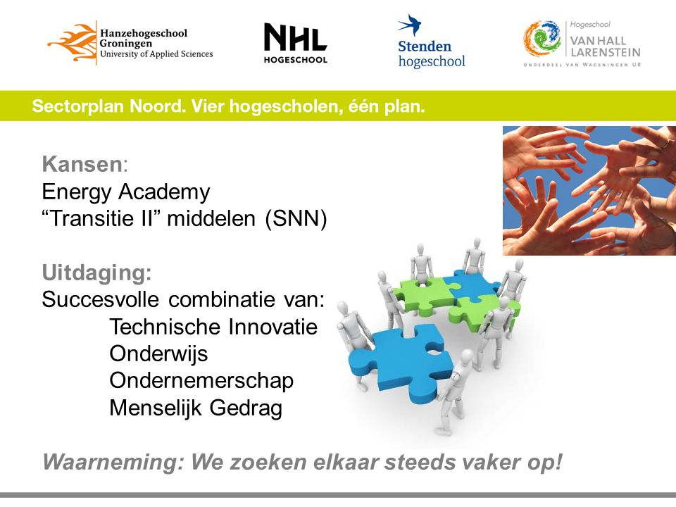 Kansen: Energy Academy Transitie II middelen (SNN) Uitdaging: Succesvolle combinatie van: Technische Innovatie Onderwijs Ondernemerschap Menselijk Gedrag Waarneming: We zoeken elkaar steeds vaker op!