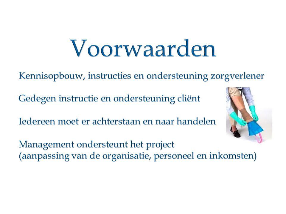 Voorwaarden Kennisopbouw, instructies en ondersteuning zorgverlener