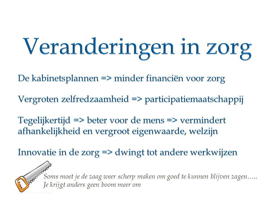 Veranderingen in zorg De kabinetsplannen => minder financiën voor zorg. Vergroten zelfredzaamheid => participatiemaatschappij.