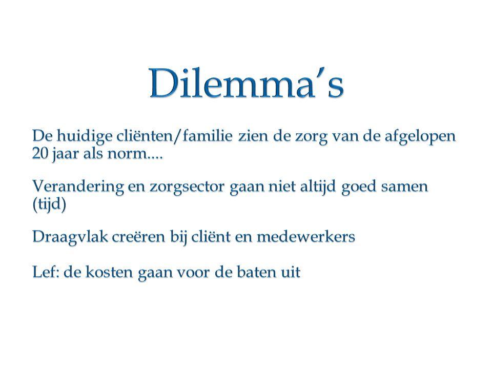 Dilemma's De huidige cliënten/familie zien de zorg van de afgelopen 20 jaar als norm....