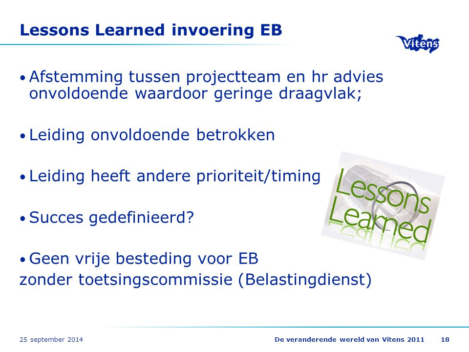Lessons Learned invoering EB