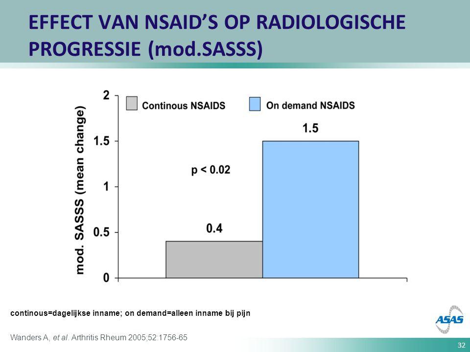 EFFECT VAN NSAID'S OP RADIOLOGISCHE PROGRESSIE (mod.SASSS)