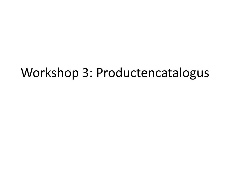 Workshop 3: Productencatalogus