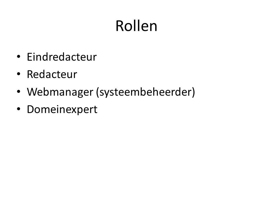 Rollen Eindredacteur Redacteur Webmanager (systeembeheerder)