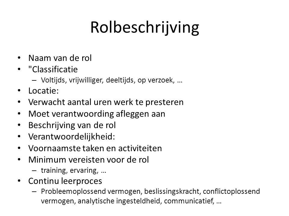 Rolbeschrijving Naam van de rol Classificatie Locatie: