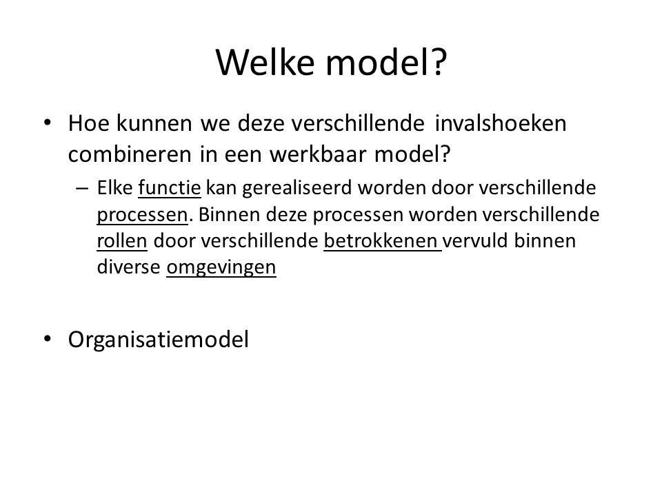 Welke model Hoe kunnen we deze verschillende invalshoeken combineren in een werkbaar model