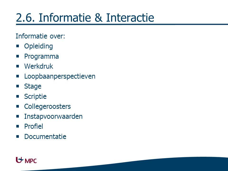 2.6. Informatie & Interactie