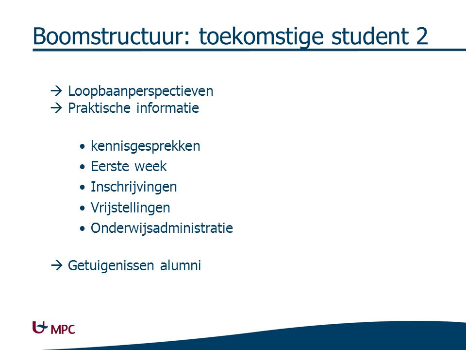 Boomstructuur: huidige student