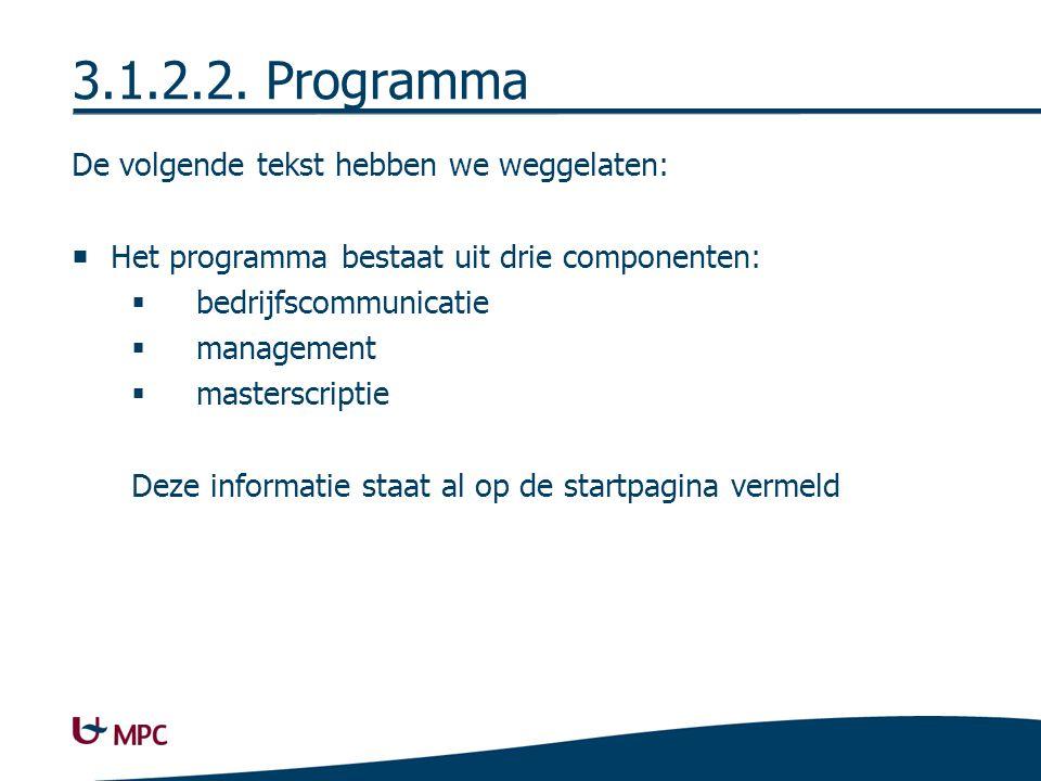 Nieuwe site Profiel & instapvoorwaarden Programma