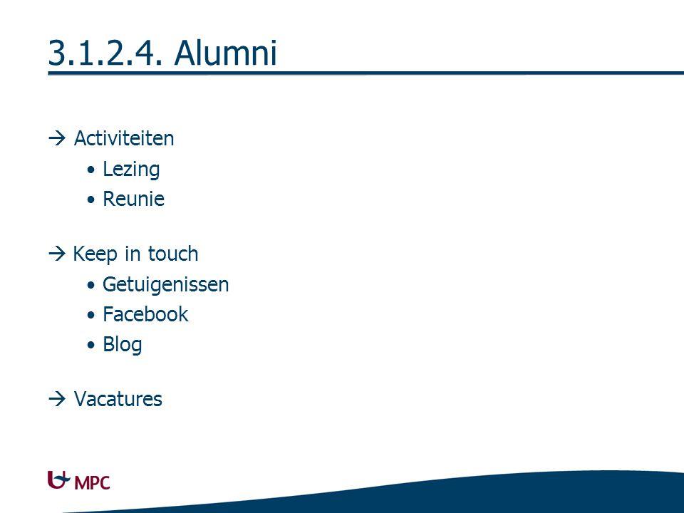 3.1.2.4. Alumni 2 Op de hoogte houden van activiteiten