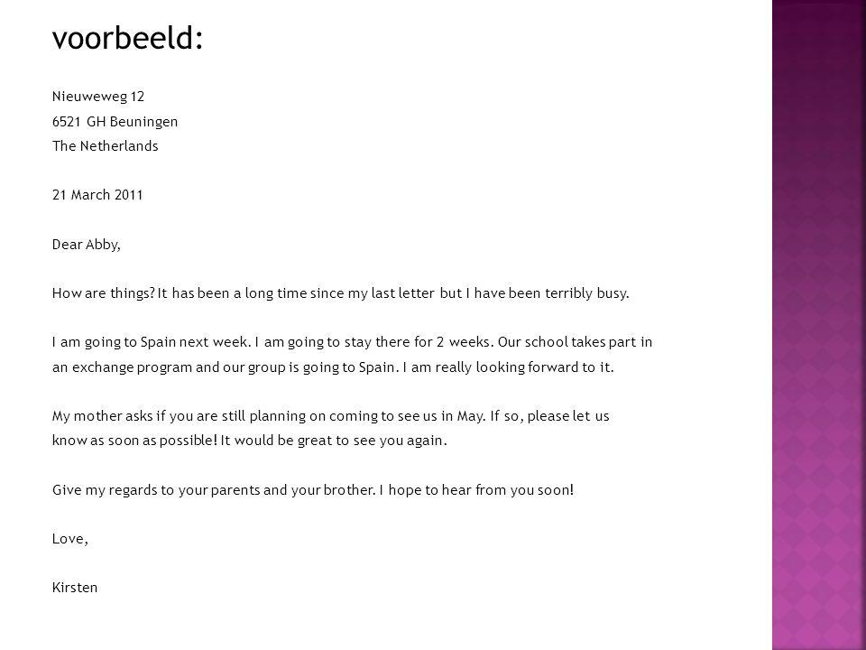 persoonlijke brief engels voorbeeld Voorbeeld Persoonlijke Brief | gantinova