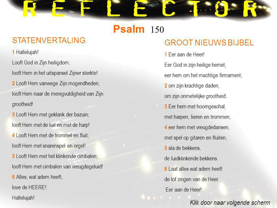 Psalm 150 STATENVERTALING GROOT NIEUWS BIJBEL