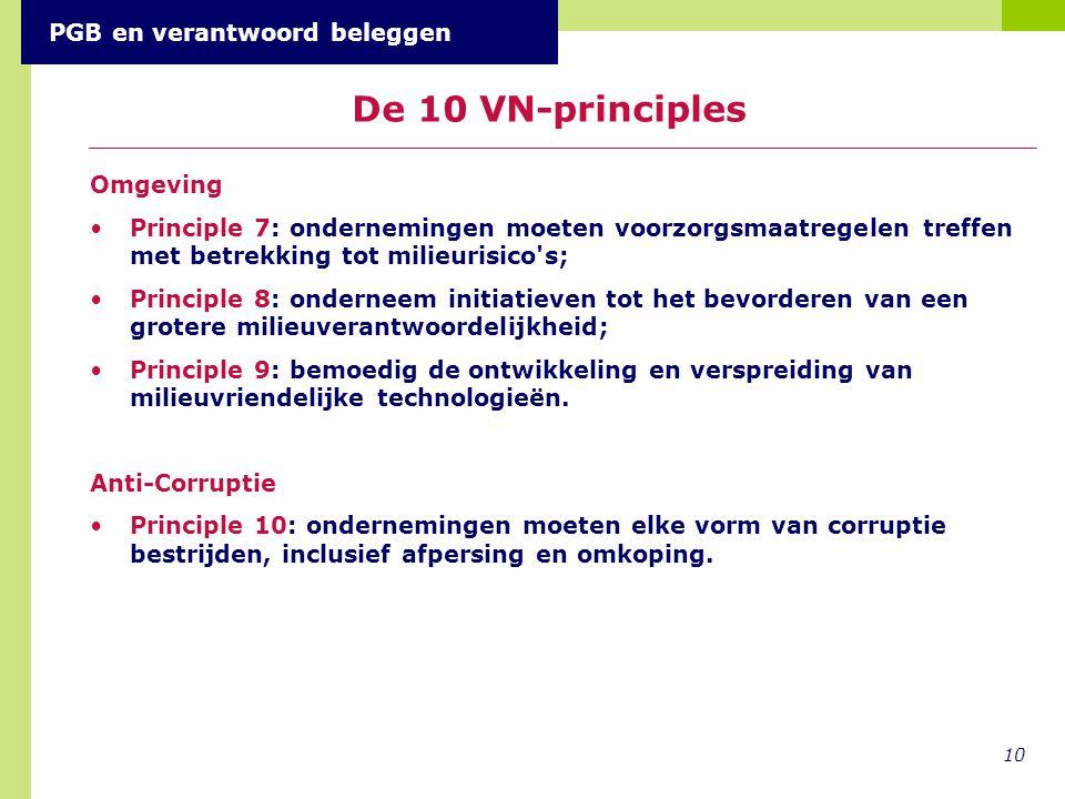 De 10 VN-principles PGB en verantwoord beleggen Omgeving