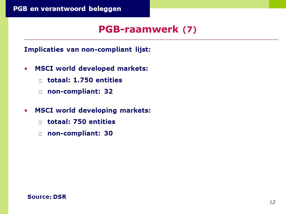 PGB-raamwerk (7) PGB en verantwoord beleggen