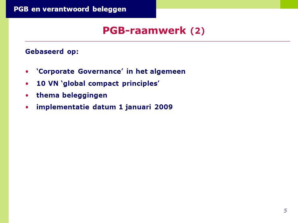 PGB-raamwerk (2) PGB en verantwoord beleggen Gebaseerd op: