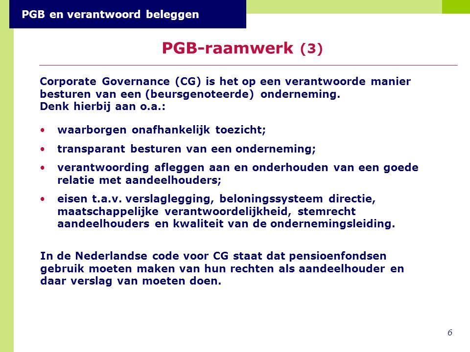 PGB-raamwerk (3) PGB en verantwoord beleggen