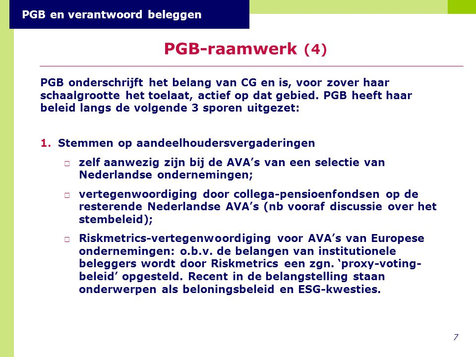 PGB-raamwerk (4) PGB en verantwoord beleggen