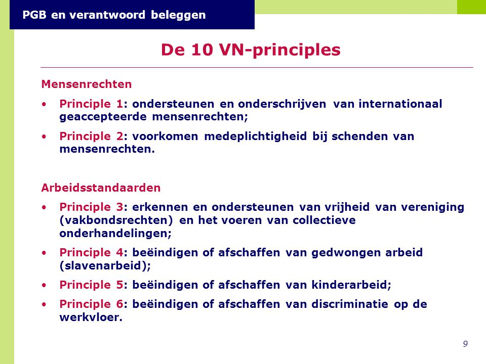 De 10 VN-principles PGB en verantwoord beleggen Mensenrechten