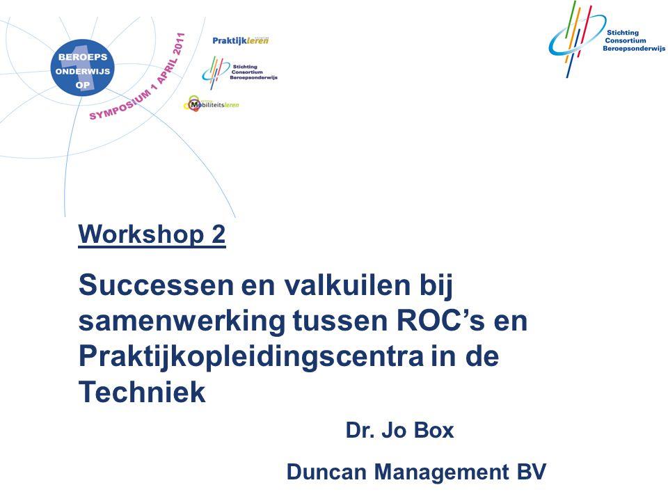 Workshop 2 Successen en valkuilen bij samenwerking tussen ROC's en Praktijkopleidingscentra in de Techniek Dr. Jo Box.