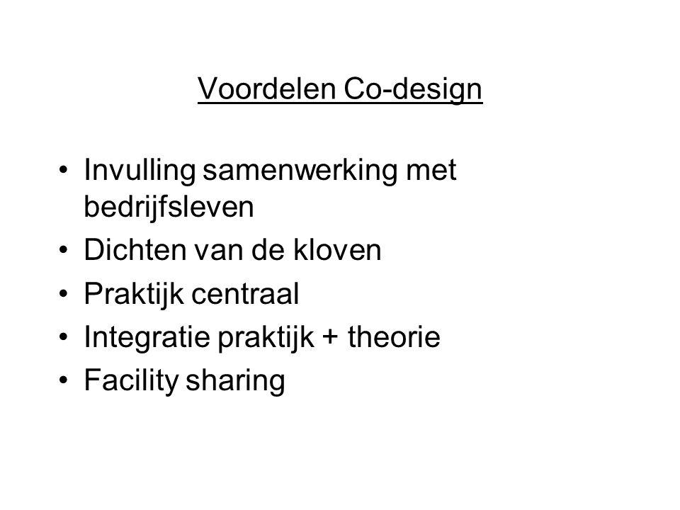 Voordelen Co-design Invulling samenwerking met bedrijfsleven. Dichten van de kloven. Praktijk centraal.