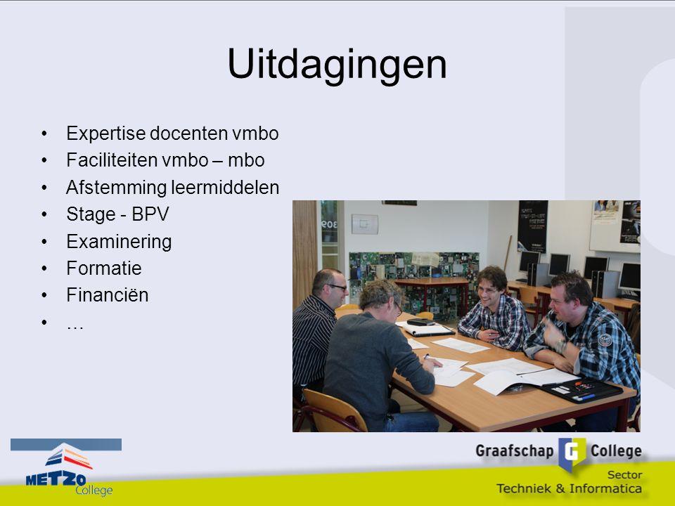 Uitdagingen Expertise docenten vmbo Faciliteiten vmbo – mbo