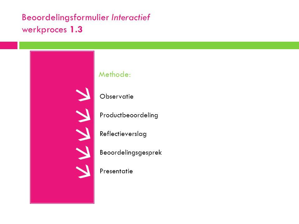 Beoordelingsformulier Interactief werkproces 1.3