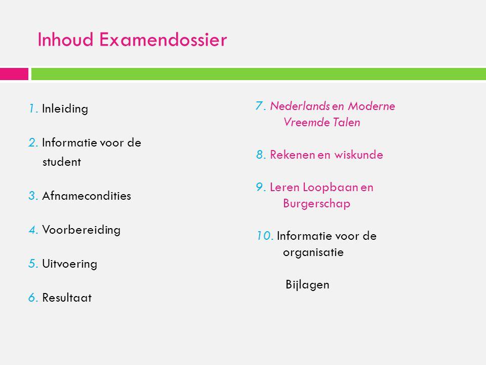 Inhoud Examendossier 7. Nederlands en Moderne Vreemde Talen
