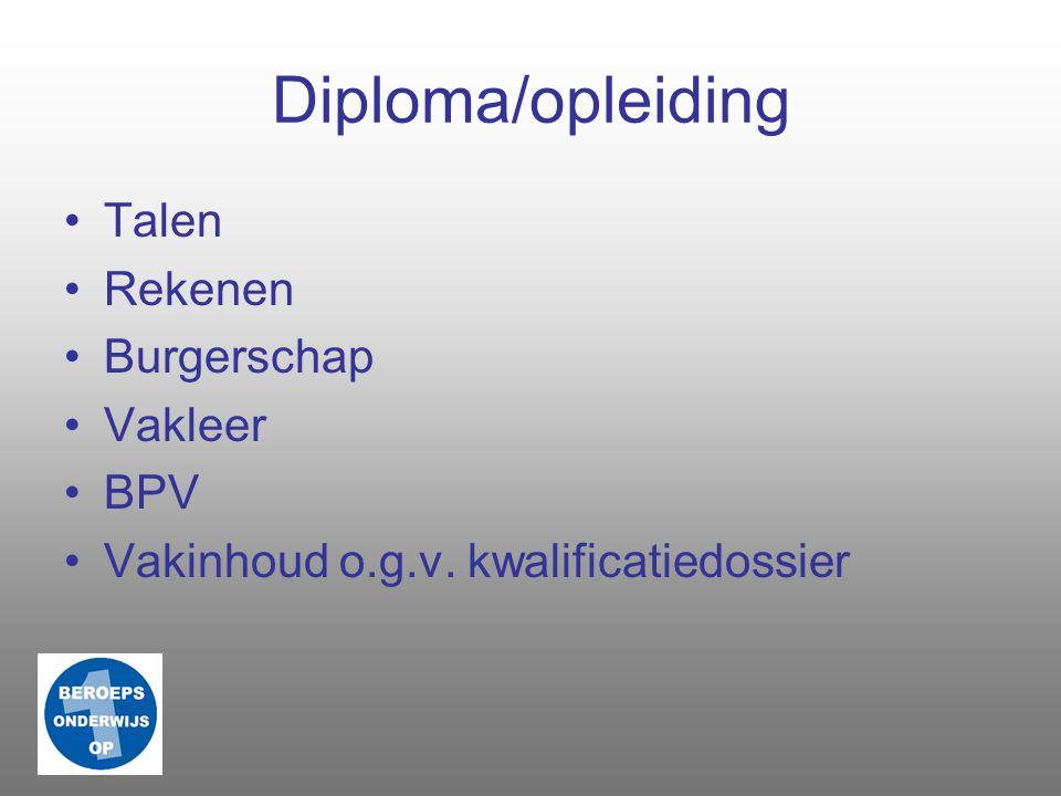 Diploma/opleiding Talen Rekenen Burgerschap Vakleer BPV