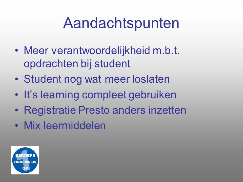 Aandachtspunten Meer verantwoordelijkheid m.b.t. opdrachten bij student. Student nog wat meer loslaten.