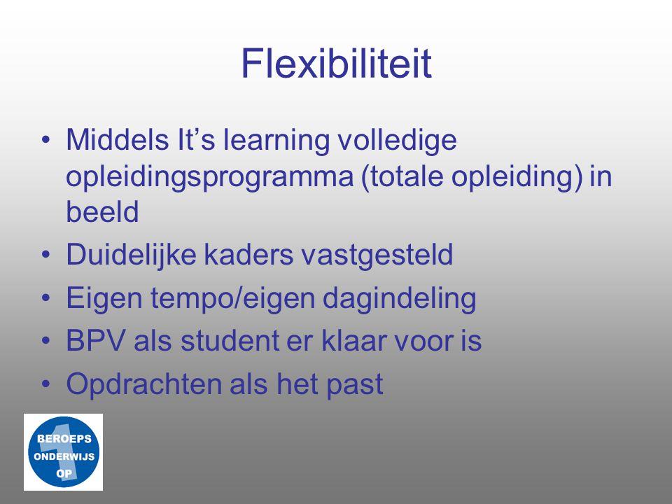 Flexibiliteit Middels It's learning volledige opleidingsprogramma (totale opleiding) in beeld. Duidelijke kaders vastgesteld.
