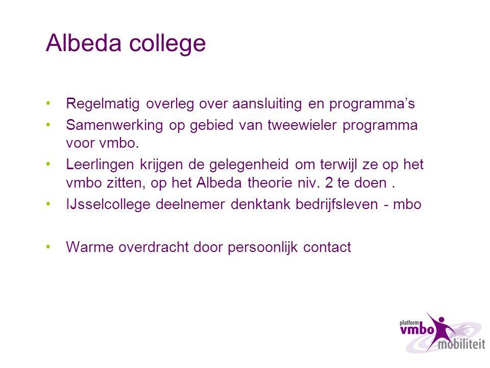 Albeda college Regelmatig overleg over aansluiting en programma's