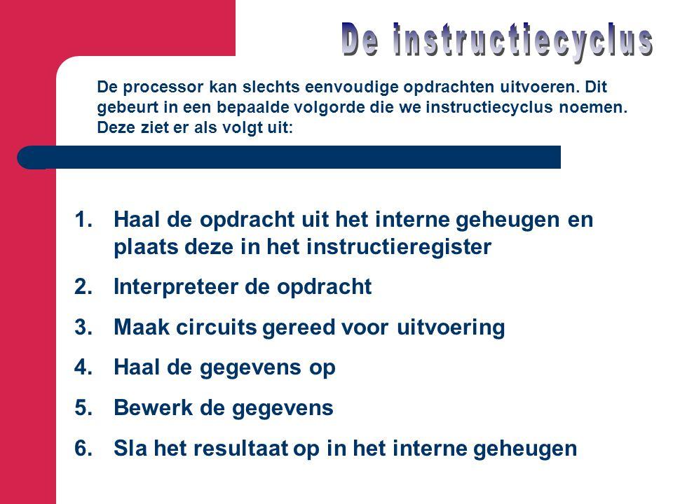 De instructiecyclus De processor kan slechts eenvoudige opdrachten uitvoeren. Dit. gebeurt in een bepaalde volgorde die we instructiecyclus noemen.