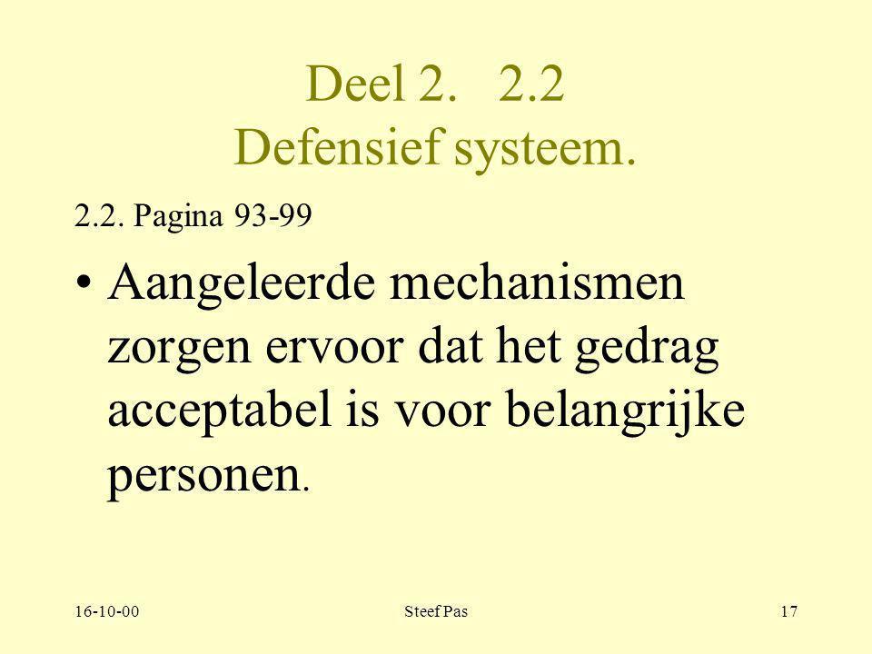 Deel 2. 2.2 Defensief systeem.