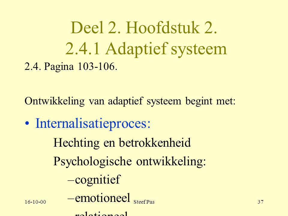 Deel 2. Hoofdstuk 2. 2.4.1 Adaptief systeem