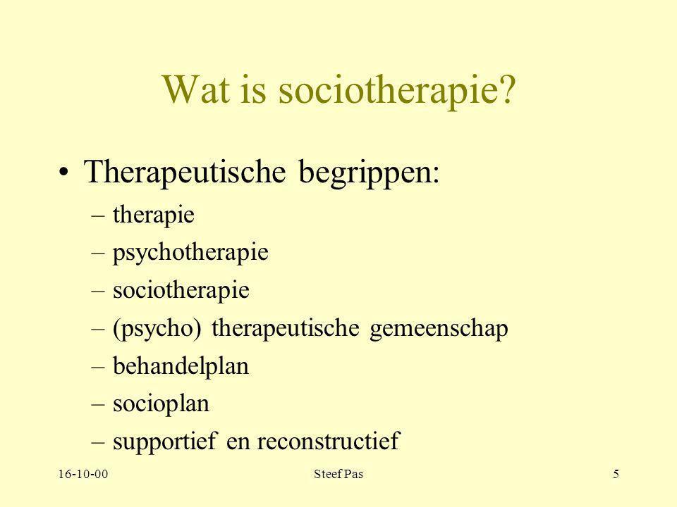 Wat is sociotherapie Therapeutische begrippen: therapie