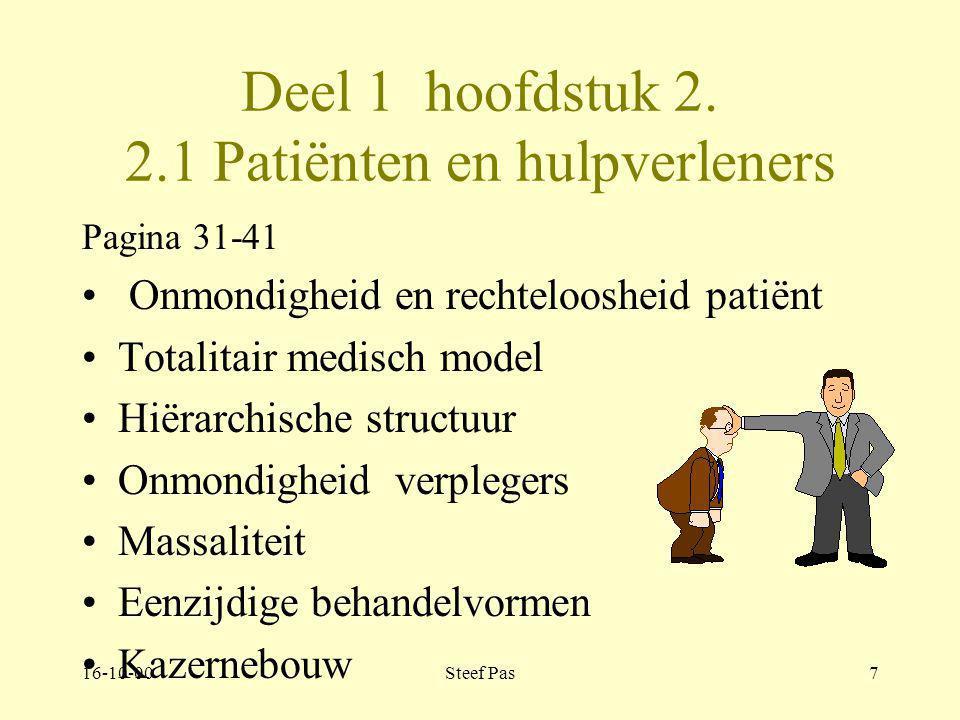 Deel 1 hoofdstuk 2. 2.1 Patiënten en hulpverleners