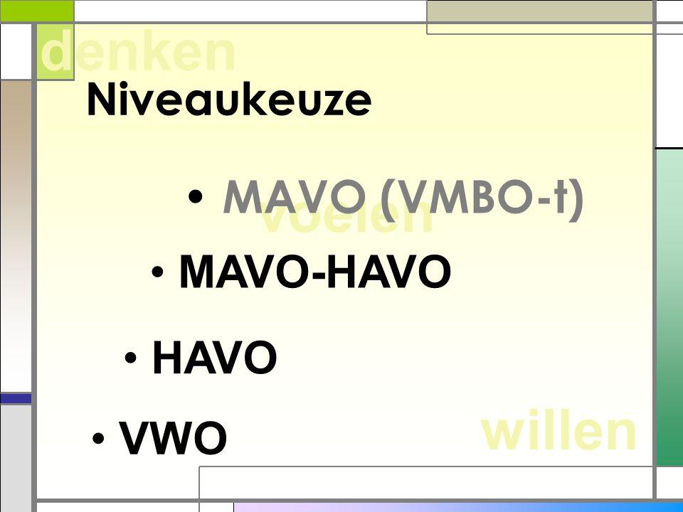 denken Niveaukeuze MAVO (VMBO-t) voelen MAVO-HAVO HAVO willen VWO